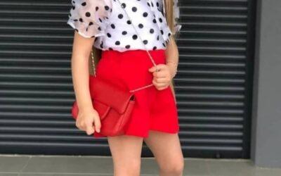 Комплект с блузкой в горошек для девочки