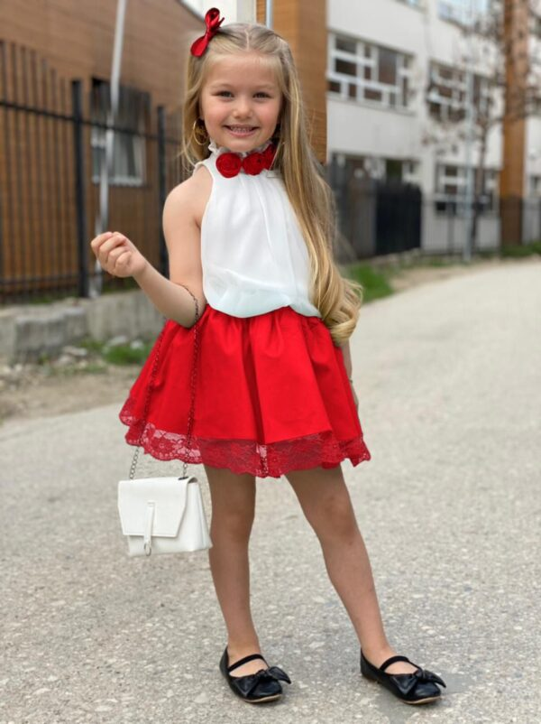 Девочка в блузке и юбке